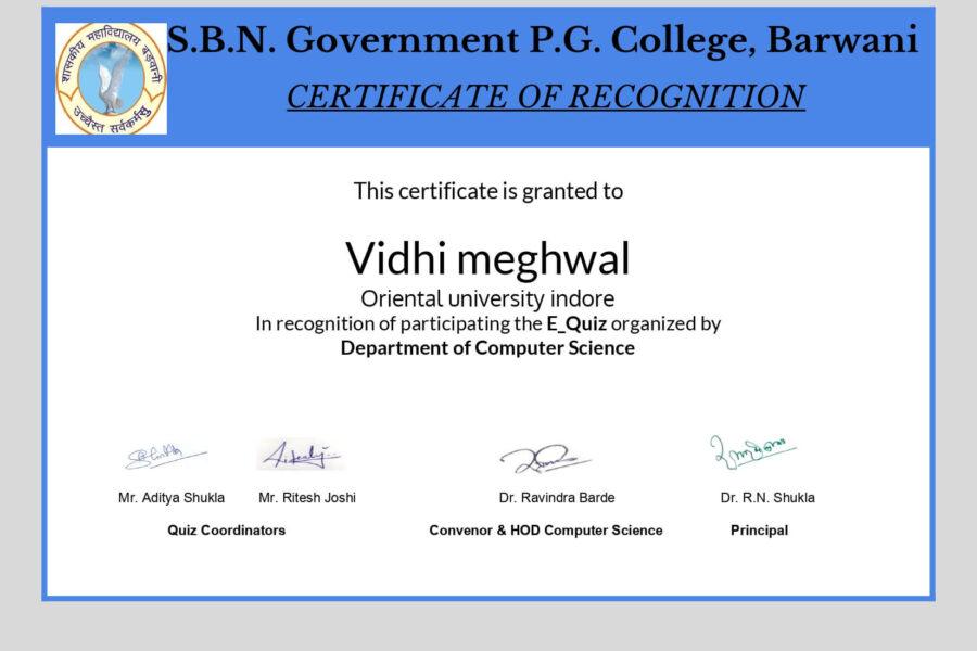 Ms. Vidhi Meghwal